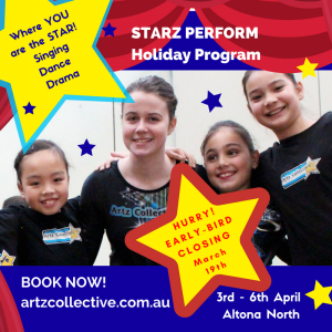Kids Holiday workshops April 3-6 in Altona North melbourne western suburbs
